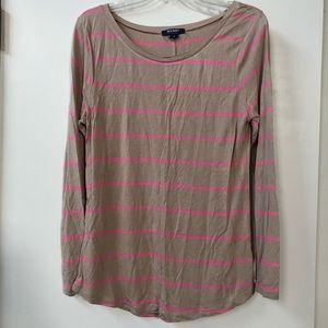 Old Navy Pink & Tan Striped Long Sleeve Shirt
